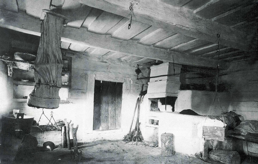 Historic view of pich stove in Ukrainian village home