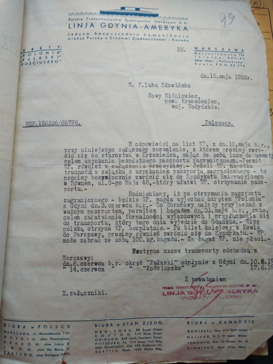 official transportation letter to Mrs. Luba Slowinska from Nowy Wisniowiec town, Krzemieniec District, Wolyn Voivodship.