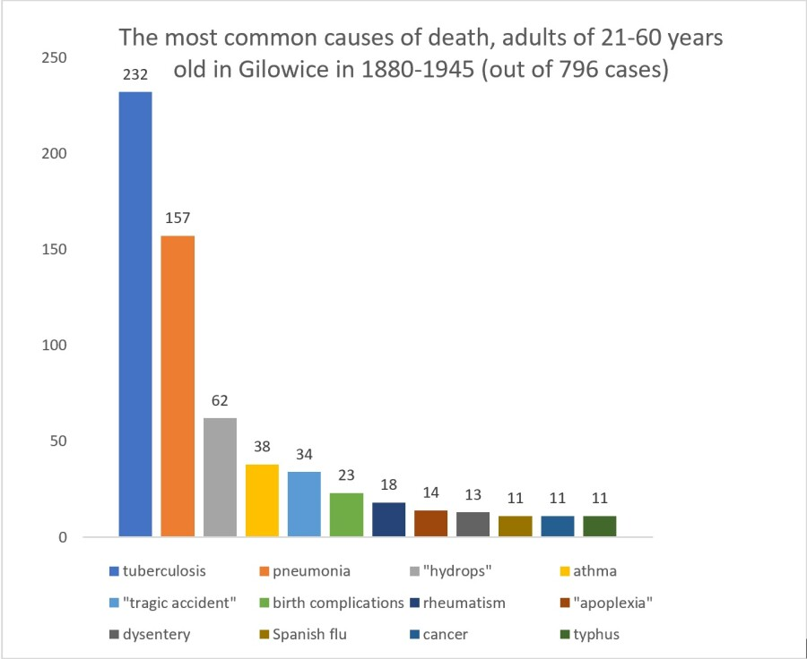 chart of most common causes of death in adults in Gilowice in 1880 - 1945