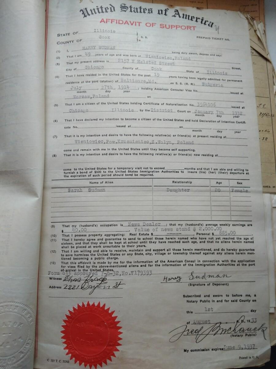 United States of America Affidavit of Support