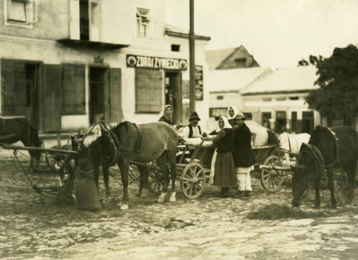 Stari Sambor market in late afternoon in 1934 Ukraine