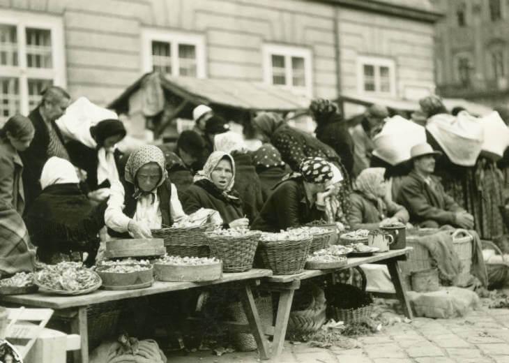 Mushrooms sold at Lviv market in 1934 Ukraine