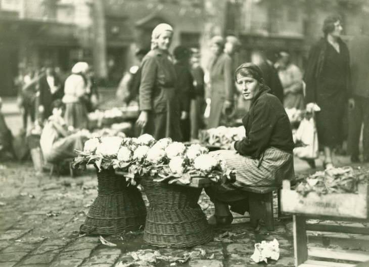 flowers for sale at Lviv market in 1934 Ukraine