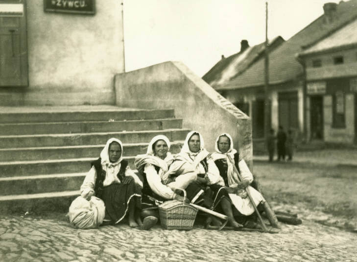 Women resting in late afternoon after Staryi Sambor market in 1934 Ukraine