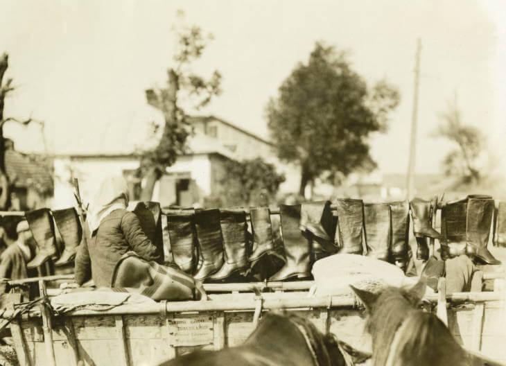 boots for sale at Zolochiv market in 1934 Ukraine