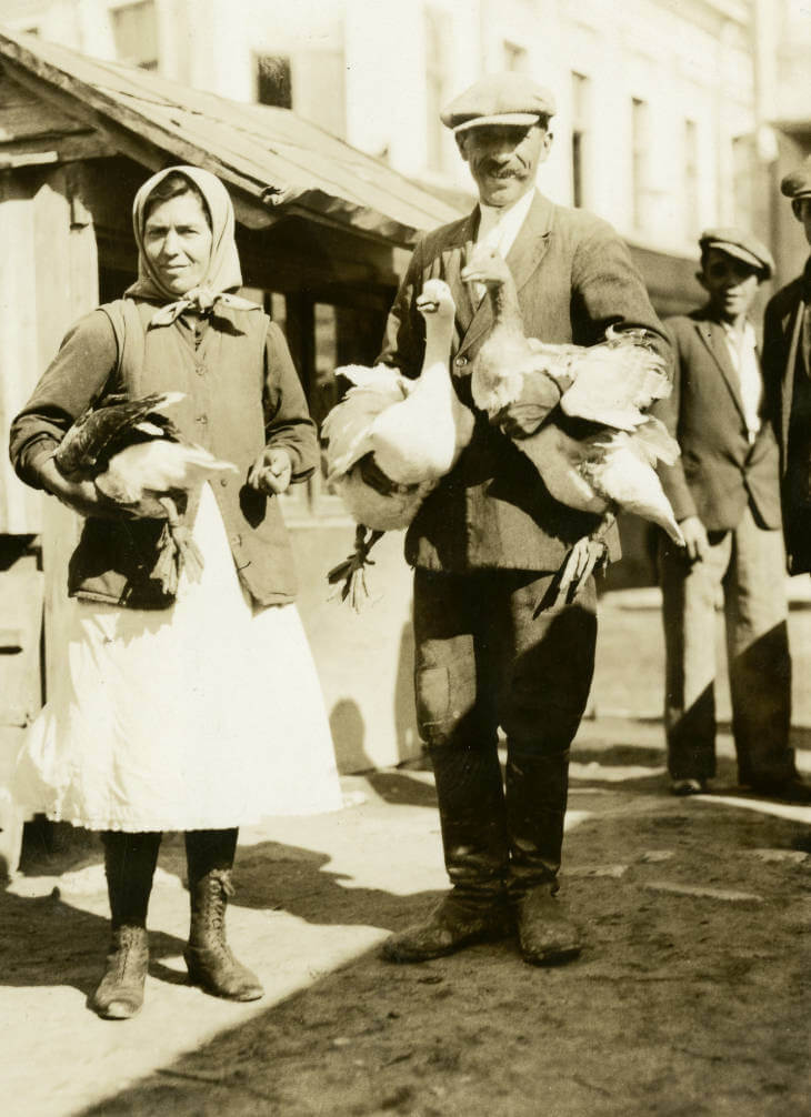 Live geese vendors at Zolochiv market in 1934 Ukraine