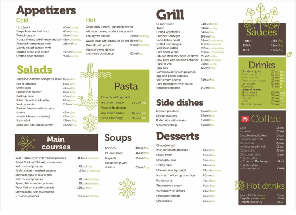 Familia menu